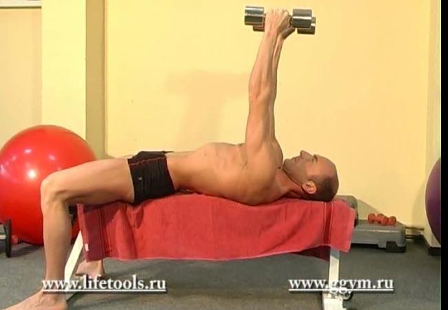 Упражнение разводка гантелей лёжа для мышц груди
