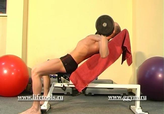 Упражнение жим гантелей лёжа на наклонной скамье. Наклонный жим гантелей.