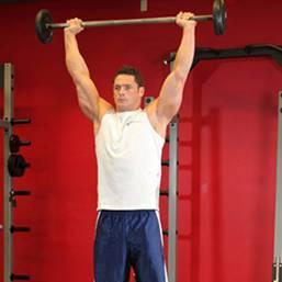 Комплекс упражнений для тренажёрного зала. Армейский жим штанги стоя.