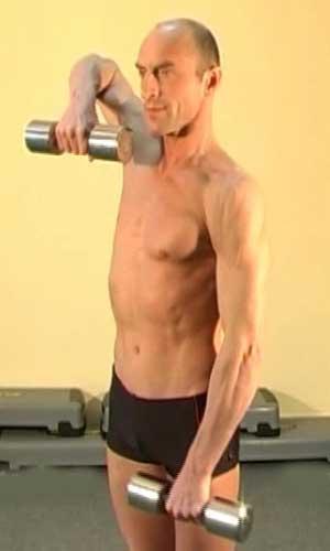 Упражнение тяга гантелей к подбородку