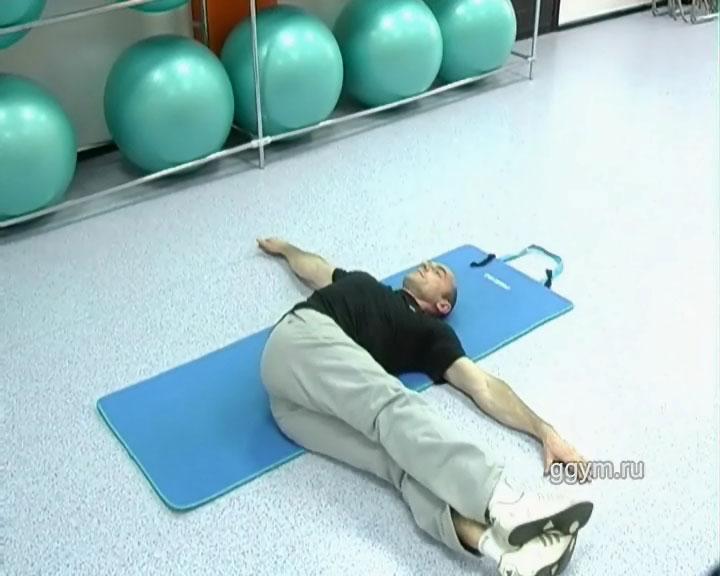 Упражнение для плоского живота. Опускания ног в стороны4.