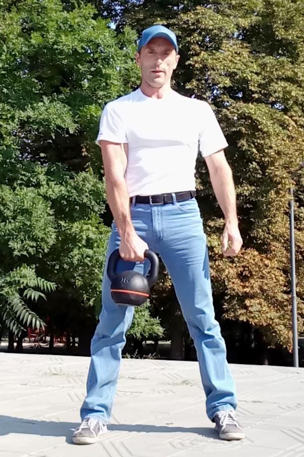 Упражнения с гирей. Базовая стойка.