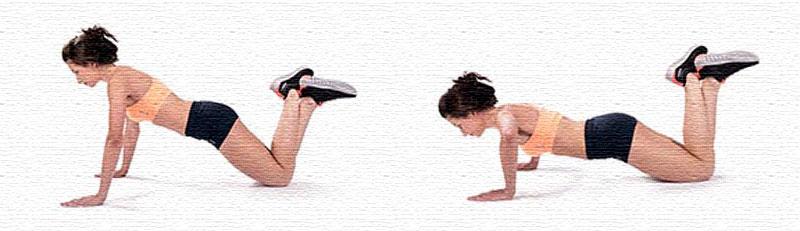 Упражнение отжимания с коленей
