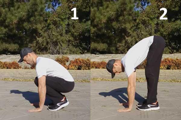 Упражнение на гибкость - разгибания ног в наклоне