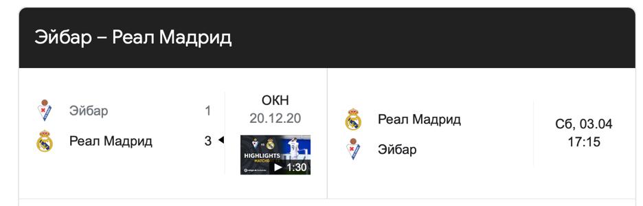 "Результат матча ""Эйбар - Реал Мадрид""."